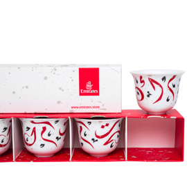arabic coffee cups in white red and black emirates official store